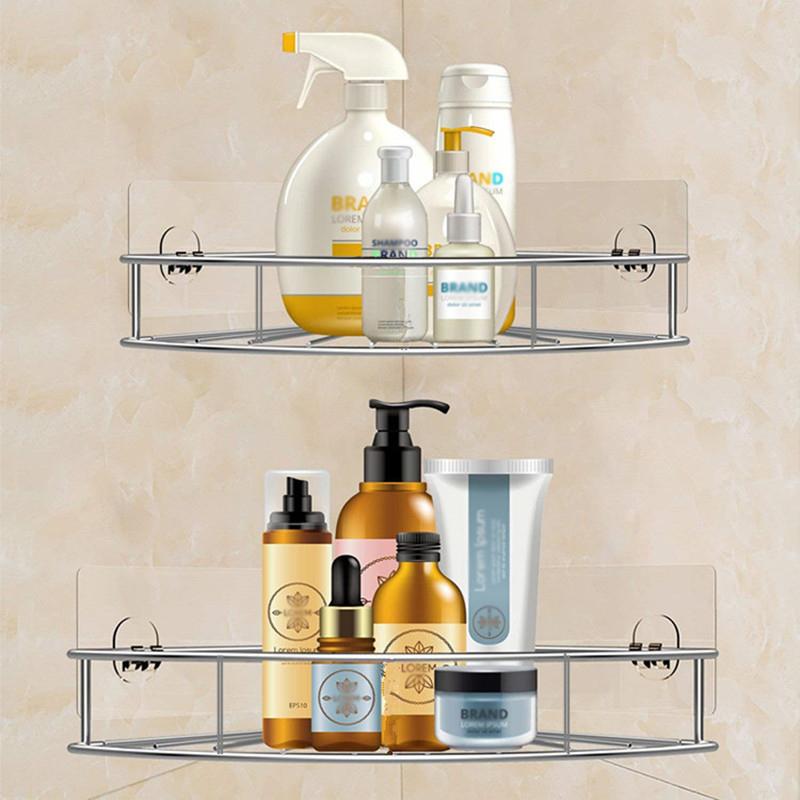 Stainless Steel Bathroom Corner Shelf Shower Shampoo Soap Cosmetic Shelves Bathroom Accessories Storage Organizer Rack Holder T190708