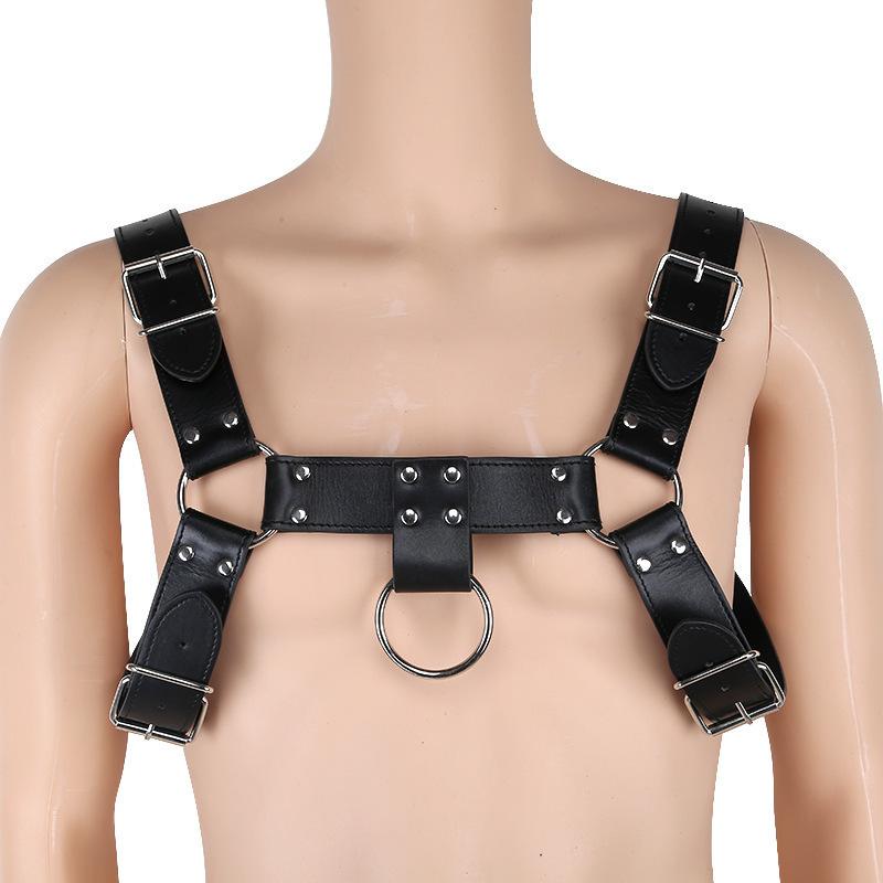 Men's Erotic Tank Lingerie Vest Flirting Bondage Sexy PU Leather Harness Gay Man Underwear Tops Nightwear Sex Wear C19010501
