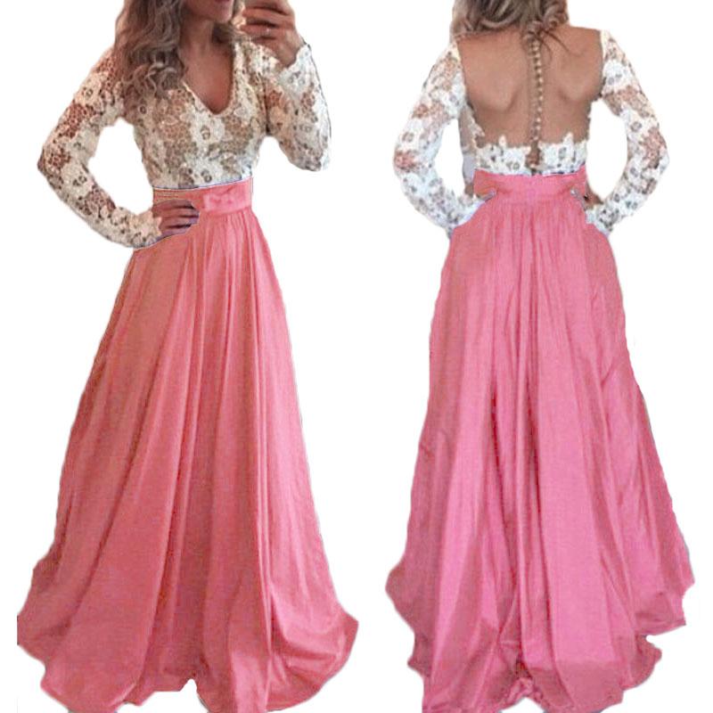 Frauen Frühling Lang Maxi Kleid V-ausschnitt Langarm Sexy Kleider Aushöhlen Patchwork Spitze Schlank Backless Elegantes Party Kleid Vestido