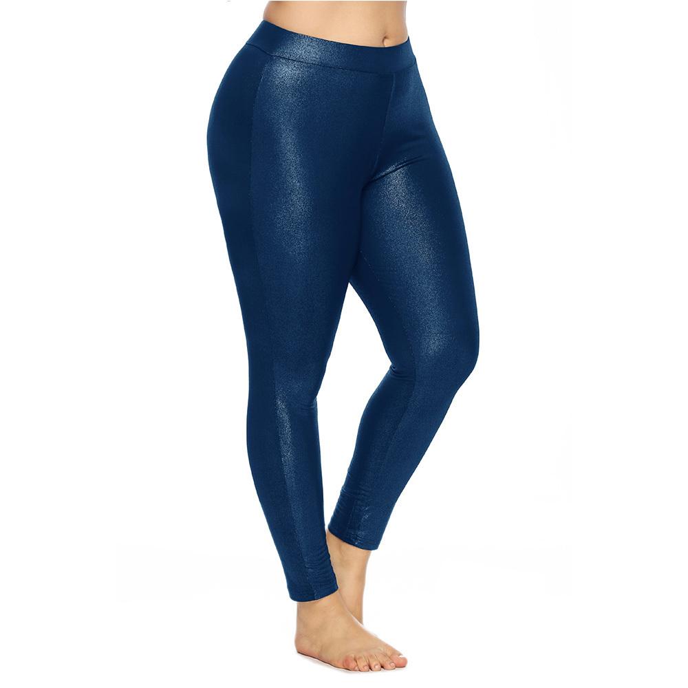 Wipalo Women Plus Size 5XL Skinny Shiny Glossy Fashion Solid Leggings Casual Pencil Ladies Trousers Female Pants Y190603