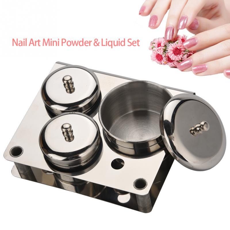 in acciaio inox Nail Art Mini polvere liquido Set Lattine scatola di immagazzinaggio strumenti manicure compatto