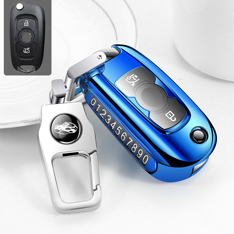 K LAKEY Key Fob Cover,Fit for Buick Enclave Lacrosse Verano Encore Regal Envision Cascada GL8,3 4 5 Buttons Smart keyless Entry Key Fob Soft TPU Case Protector Shell Holder with Key Chain Silver