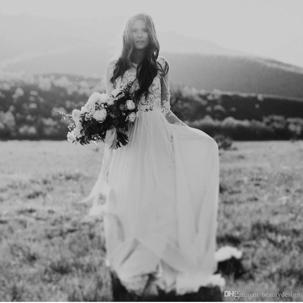 Forest Bohemian Country Wedding Dresses With Sheer Long Sleeves Bateau Neck A Line Lace Applique Chiffon Boho Bridal Gowns Cheap