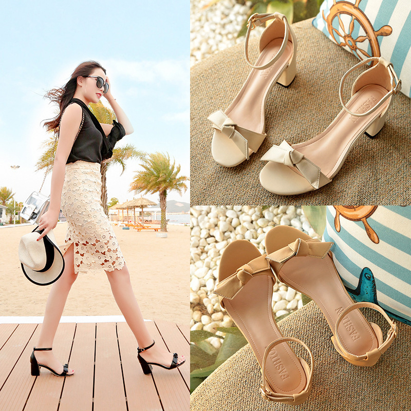Overseas2019 Will Woman Sandals East Coarse With One Word Buttons, Fish Mouths, Etc. Women's Shoes