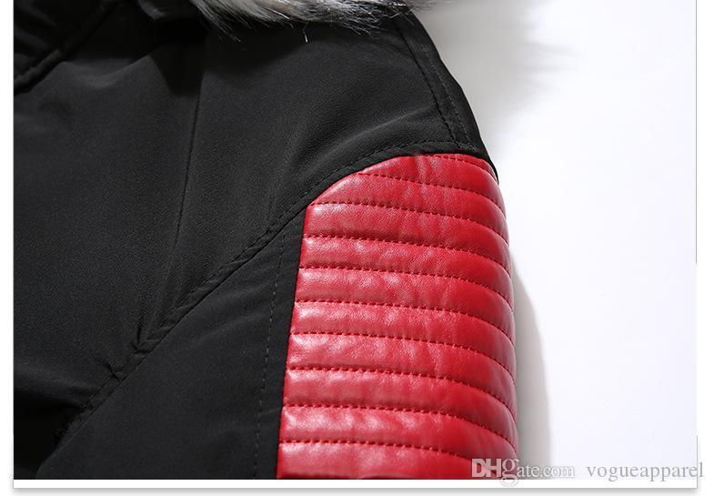 Mens Contrast Colors Panelled Jackets Winter Thick Body Warm Coats Faux Fur Hooded Jackets US Size