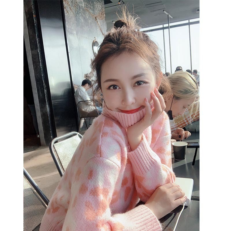Love2019 And Pattern Sweet Cute Pink Colour Leopard Print Keep Warm High Lead Sweater Half-body Skirt Two Paper Suit Can Generation Hair
