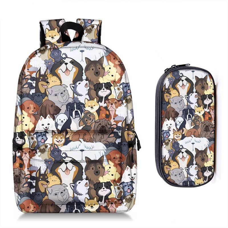 Cute Ibizan Hound Dog Print Backpack Set For Kids and Girls