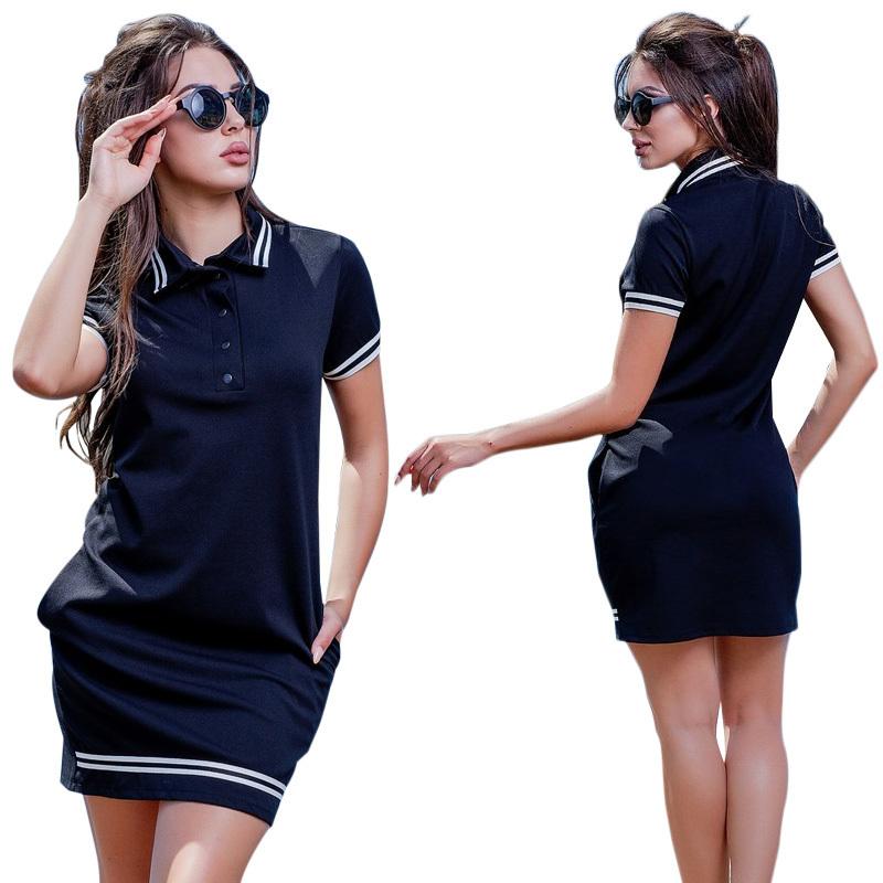 2019 novas mulheres da moda polo dress tamanho grande 6xl de grandes dimensões acima do joelho mini vestidos de festa de trabalho do sexo feminino elegante vestidos de grandes dimensões q190409