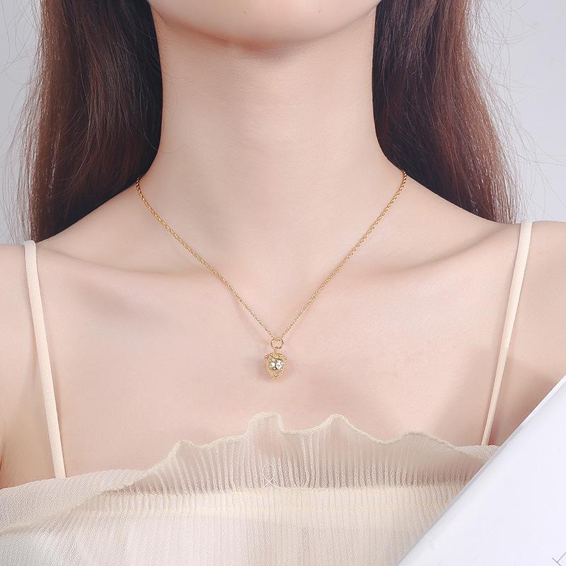 con plata Sterling Señora collar cadena de anclaje circonita blanco gotas de corazón PL
