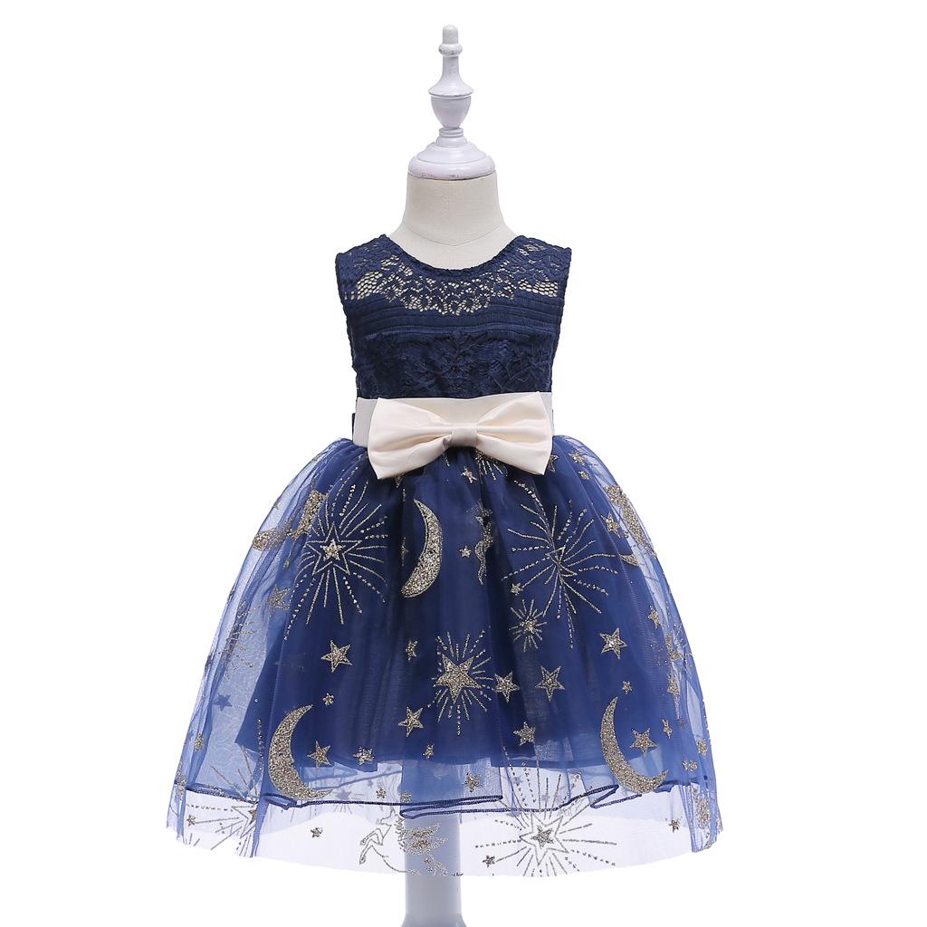 Crianças menina vestido de princesa para crianças vestido de baile vestido estrelas luas tutu em torno do pescoço bola vestido de baile clothing festa de aniversário dress