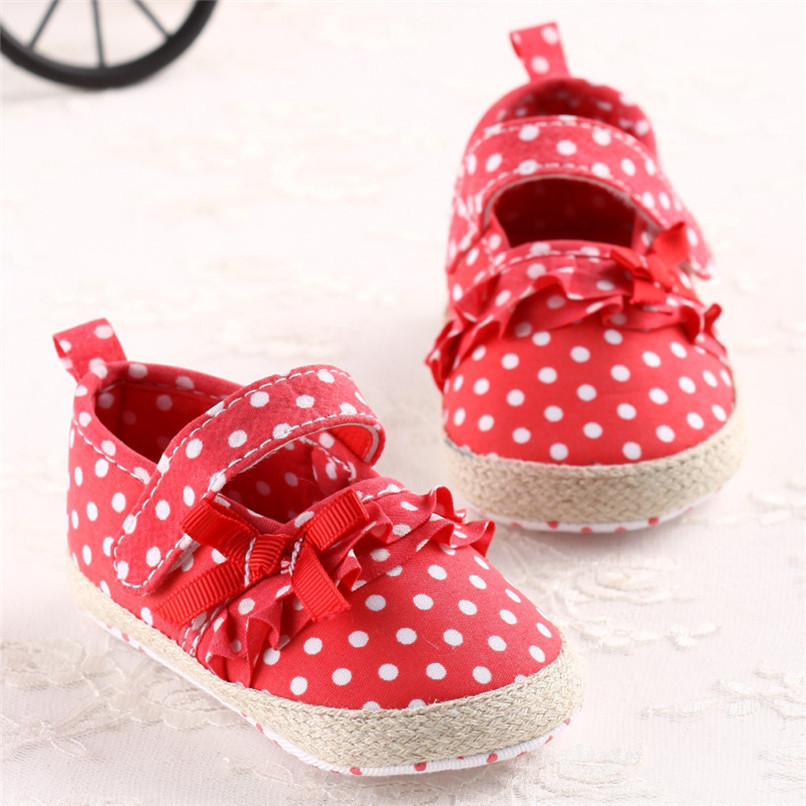 Baby Girls Shoes Fashion Newborn Infant Baby Girls Canvas Polka Dot Bowknot Shoes Soft Sole Anti-slip First Walker M8Y04 (8)