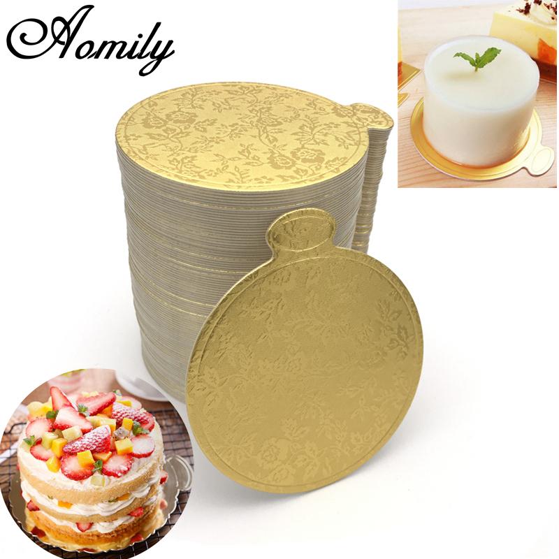 100pcs Gold Round Mousse Cake Dish Boards Tray Wedding Birthday Pastry Decor AB