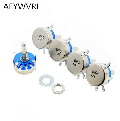 2pcs WH5-1A 470k ohm 3-Terminals Round Shaft Rotary Taper Carbon Potentiometer