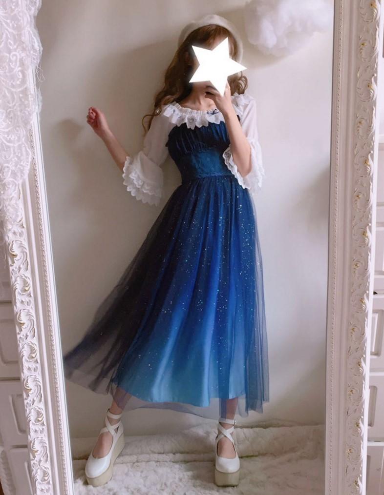 Stary Sky Gradient Blue Women's Summer Suspender Dress Double Layer Veil Fairy Kei Lolita Dress & Inner White Shirt Y19052901