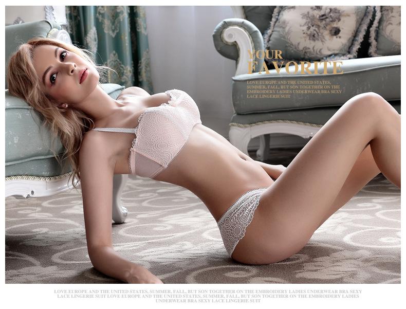 Jerrinut Sexy Lace Lingerie Set Women Underwear Seamless Push Up Bra Set Embroidery Ultra-thin Panties And Bra Set 13