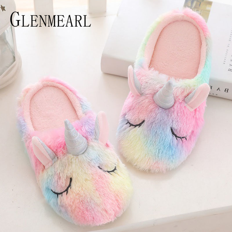 UnisexUnicorn and Flowers House Slippers Couple Warm Soft Indoor Shoes Non-watertight