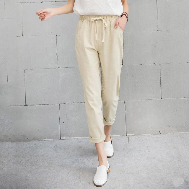 New-Women-Casual-Harajuku-Spring-Autumn-Big-Size-Long-Trousers-Solid-Elastic-Waist-Cotton-Linen-Pants.jpg_640x640 (1)
