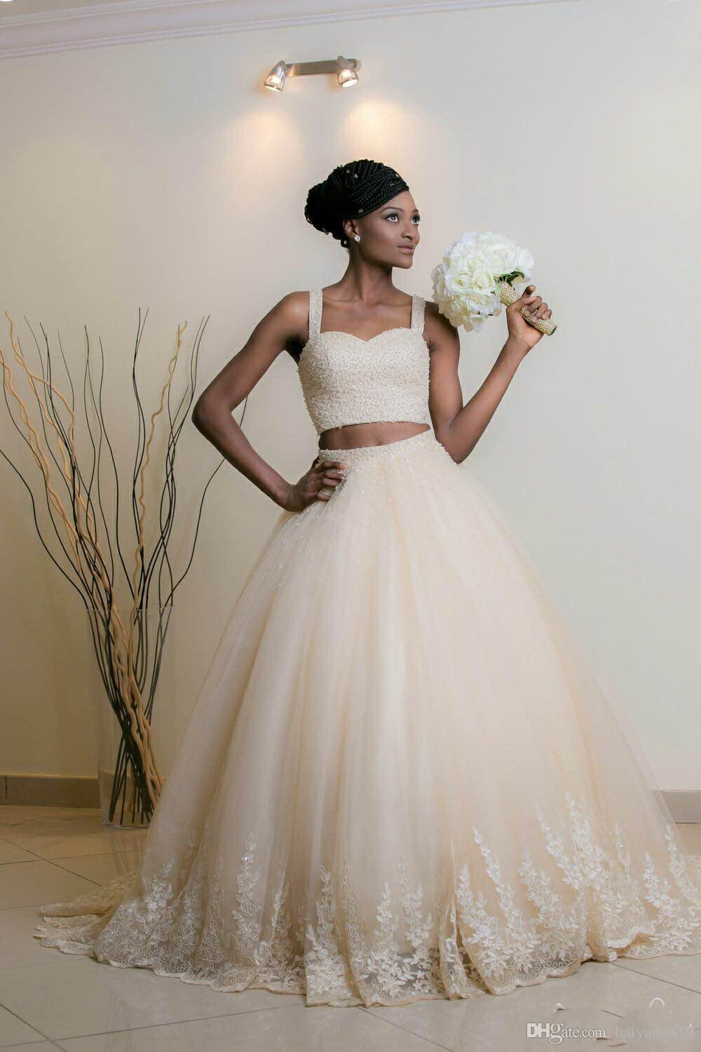 2017 New African Two Pieces Ball Gown Wedding Dresses Spaghetti Straps Bling Crystal Beaded Lace Appliques Long Plus Size Formal Bridal Gown