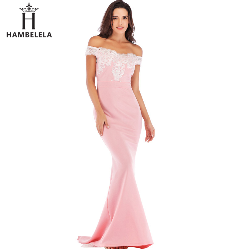 HAMBELELA Vestido De Festa Pink Black Red Mermaid Dress Lace Top Bodice Slim Long Formal Party Dress Charming Wedding Party Gown (11)