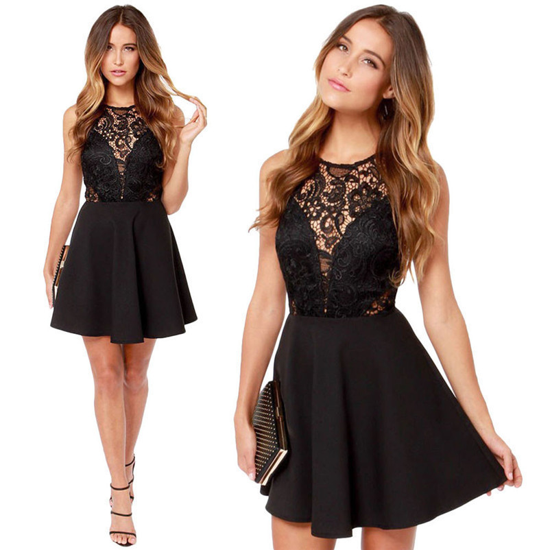 Fashion summer dress women beach dress Casual Backless Prom Cocktail Lace Short party Mini Dress vestido de festa J27#N (5)