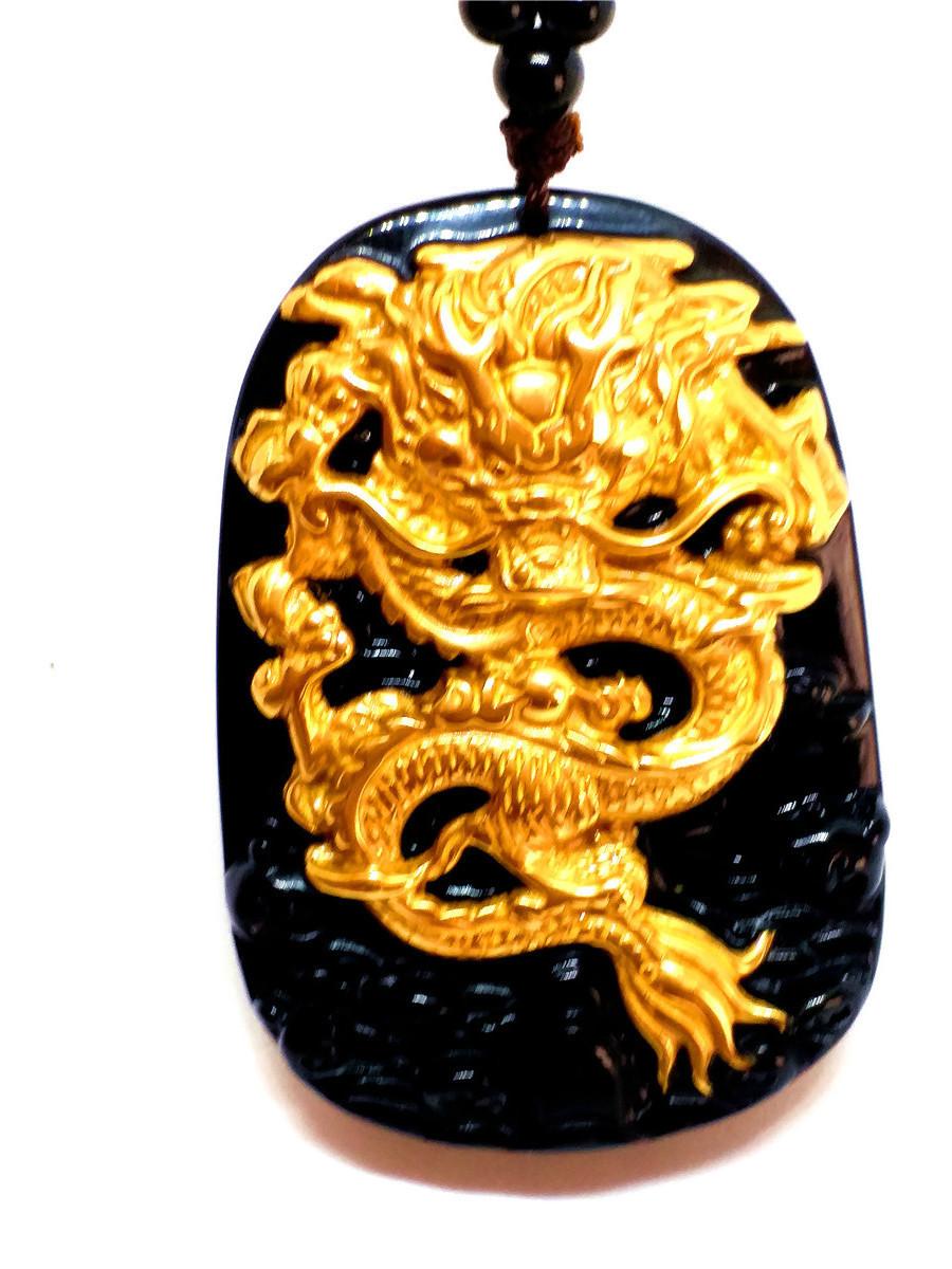 18K 999 чистое желтое золото инкрустация натуральный обсидиан черный нефрит кулон Дракон ожерелье свитер цепи ювелирные изделия подарок оптом