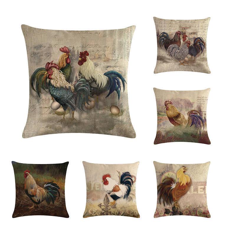 Chicken Farm Cushion Birds Wildlife Pillow Lounge Kitchen Pillow Home Decor C25