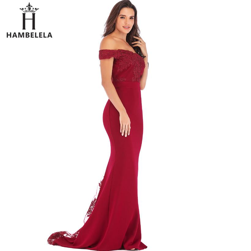HAMBELELA Vestido De Festa Pink Black Red Mermaid Dress Lace Top Bodice Slim Long Formal Party Dress Charming Wedding Party Gown (16)