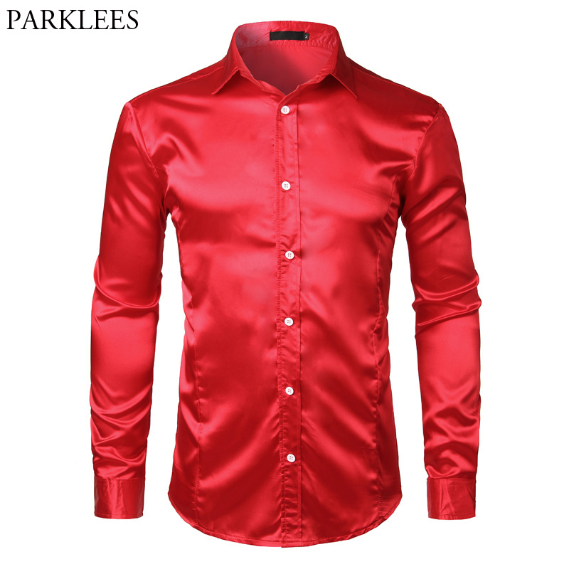 SHOWNO Men Solid Color Long Sleeve Regular Fit Turn Down Collar Groomsman Button Down Shirts