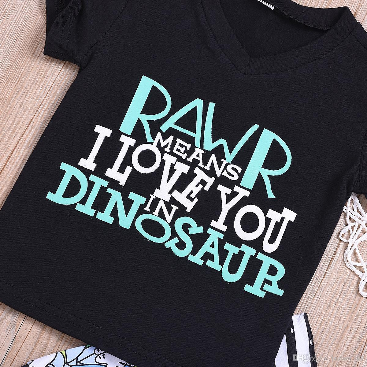 Trendy Kids Baby Boy Set V Neck Black Letters Tank Top Dino Print Shorts Outfits Toddler Clothing Sets 3m-4y Wholesale 2019 Summer