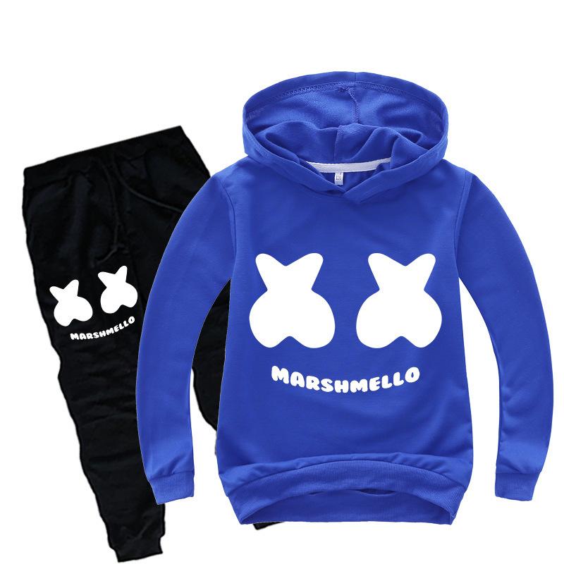 2020 New Automne Enfants DJ Sets Marshmallow Vêtements enfants cosplay masque Survêtement à capuche Pull Costume Vêtements Sweat
