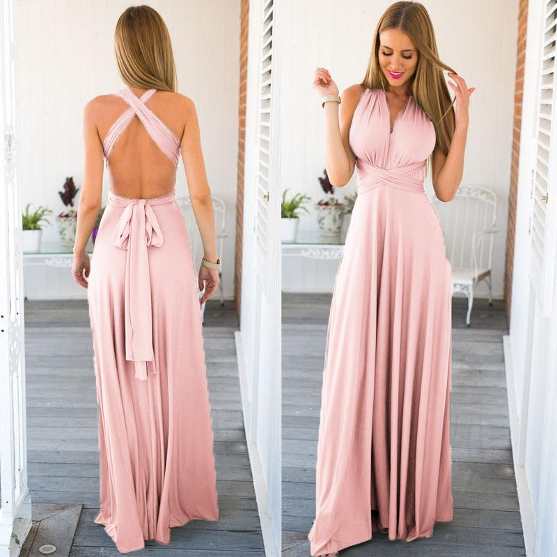 Anself Sexy Long Bridesmaid Formal Multi Way Wrap Convertible Infinity Maxi Dress Pink Hollow Out Party Bandage Vestidos Q190510