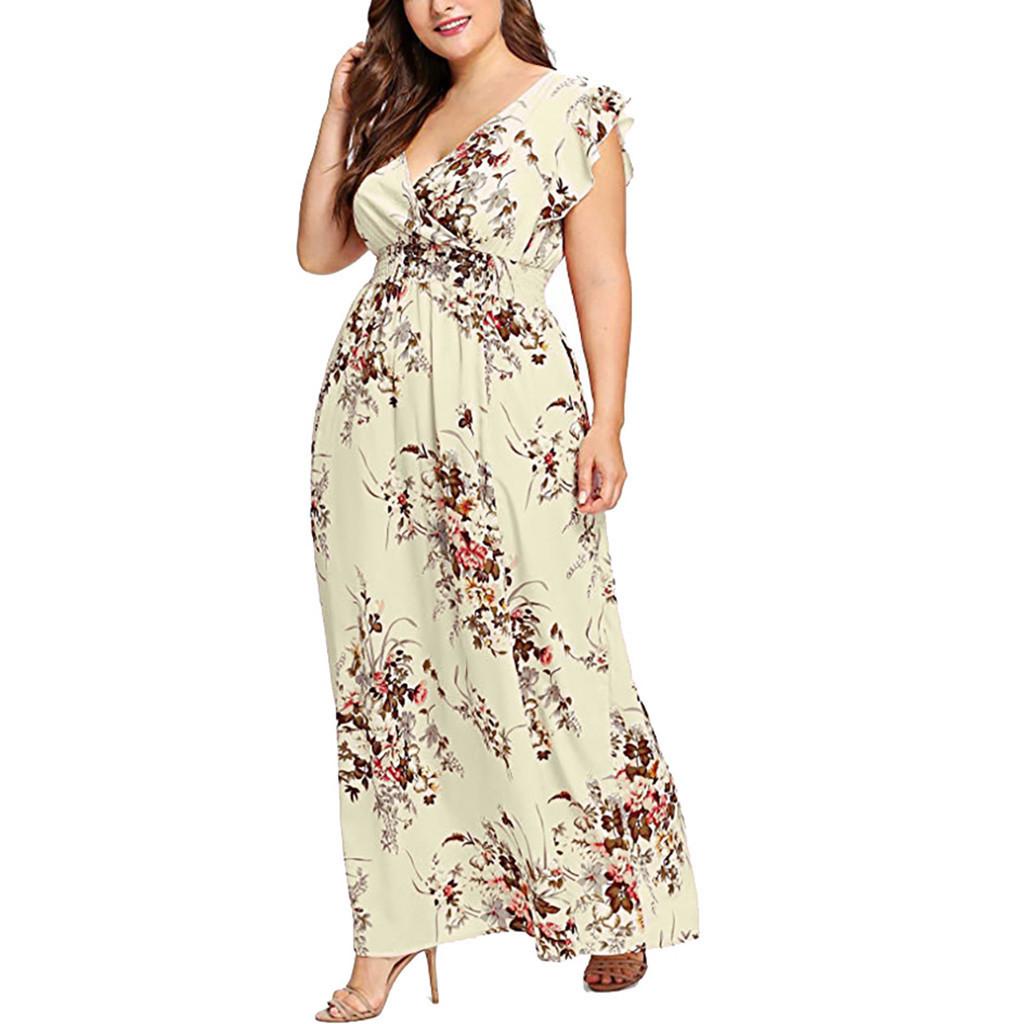 Mulheres plus size v neck verão dress floral impressão boho manga curta partido maxi vestidos de manga longa borboleta dress solto fino