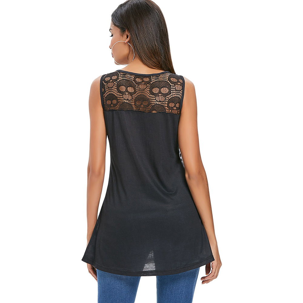 Canotta Kenial Skull Lace Panel Top Y19042801