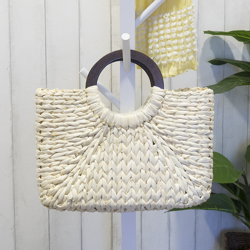 Women Vintage Rattan Handbag Female Bohemian Summer Beach Straw Bags Lady Simple Weave Bag Handmade Casual Large Tote SS3032 (6)