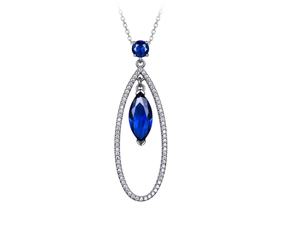 UMCHO Sapphire 925 sterling silver jewelry set for women S021S-1 (2)