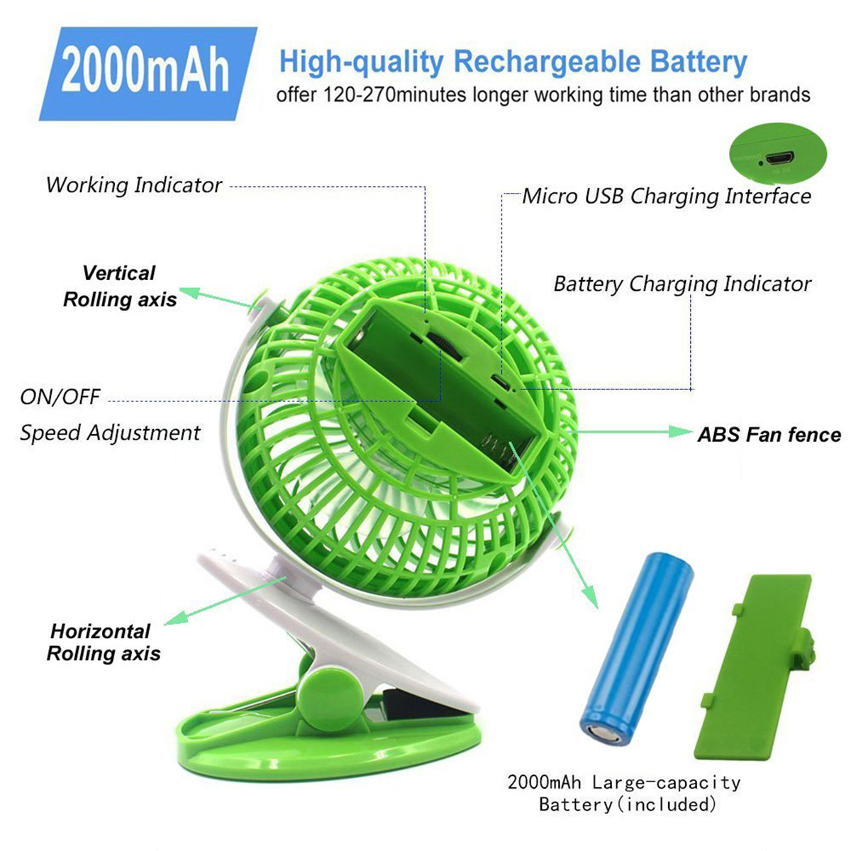 Desktop Portable Mini Personal Desk Quiet Fan, Charging Air, Cooler Stepless Speed Two-way Rotary 360 Degrees T190626