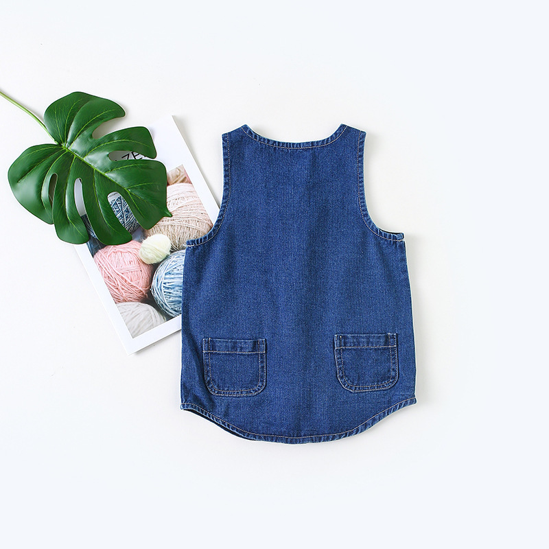 Baby Girls Denim Dresses Cute Blue Solid Pocket Children Kids Sleeveless Jeans Newborn Summer Infant Toddlers Girl Dress Clothes