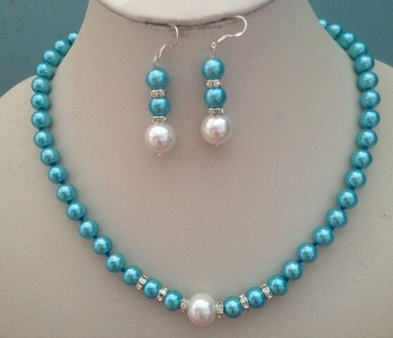Belle 8 mm Bleu South Sea Shell Pearl PERLES rondes Collier Boucles d/'oreilles Set 18/""