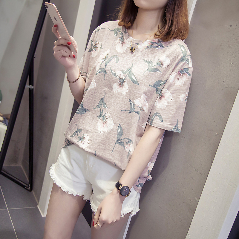 Nkandby Plus Size Floral Printing T-shirts 2019 Summer Women Short Sleeve Bamboo Cotton Oversized Round Basic Tops L-4xl T Shirt C19041001