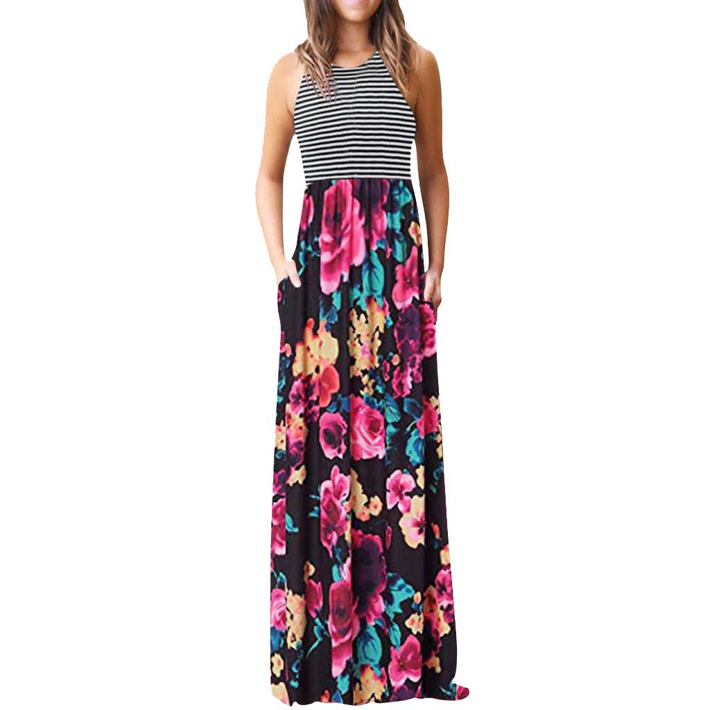 Das mulheres em torno do pescoço tarja verão vestido sem mangas maxi vestidos casual longo dress com bolso o-pescoço tanque skrit