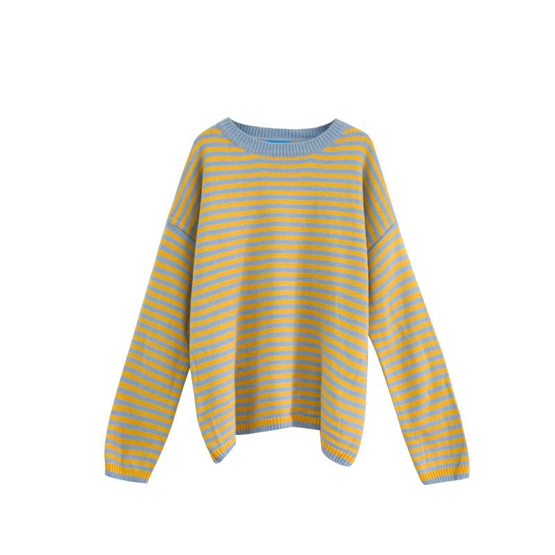 Harajuku Frauen Herbst Winter Korea Stil Beiläufige Lose Joker Streifen Pullover Weibliche Pullover Langarm Pullover Y190829