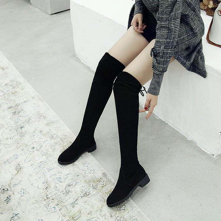Sexy2019 And Pattern Thin With Cylinder Shoe Circle Head Pop Elastic Force Cloth Woman Boots Foreign Trade