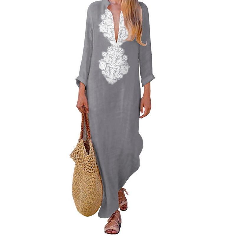 LASPERAL Sommer Boho Lange Maxi Kleid Langarm V-ausschnitt Frauen Kleid Kleidung Lose Damen Party Sommer Casual Strand Sommerkleid Y190117