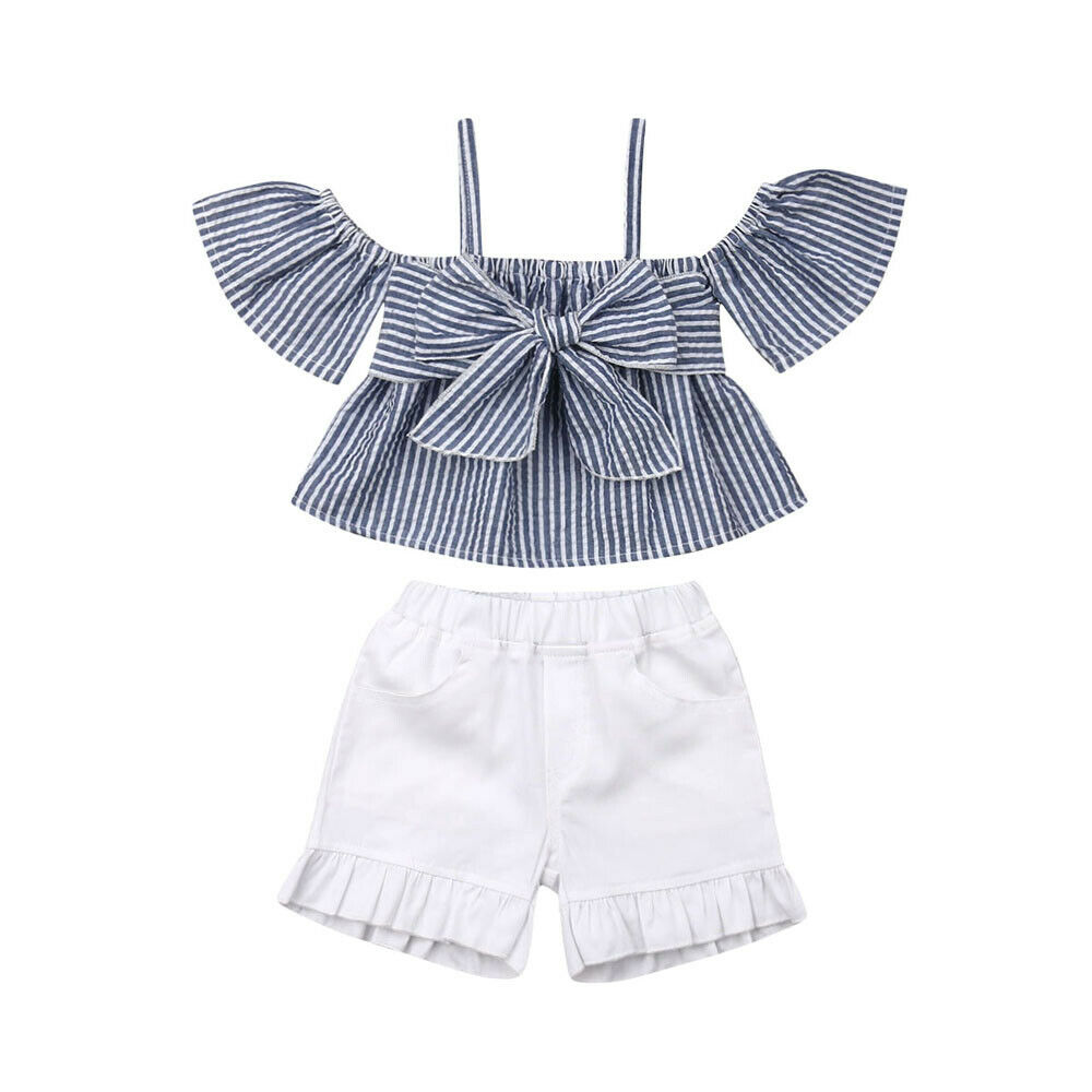Kid Baby Girl Off Shoulder Lace Crop Top Wide Leg Pants Outfit Clothes Summer UK