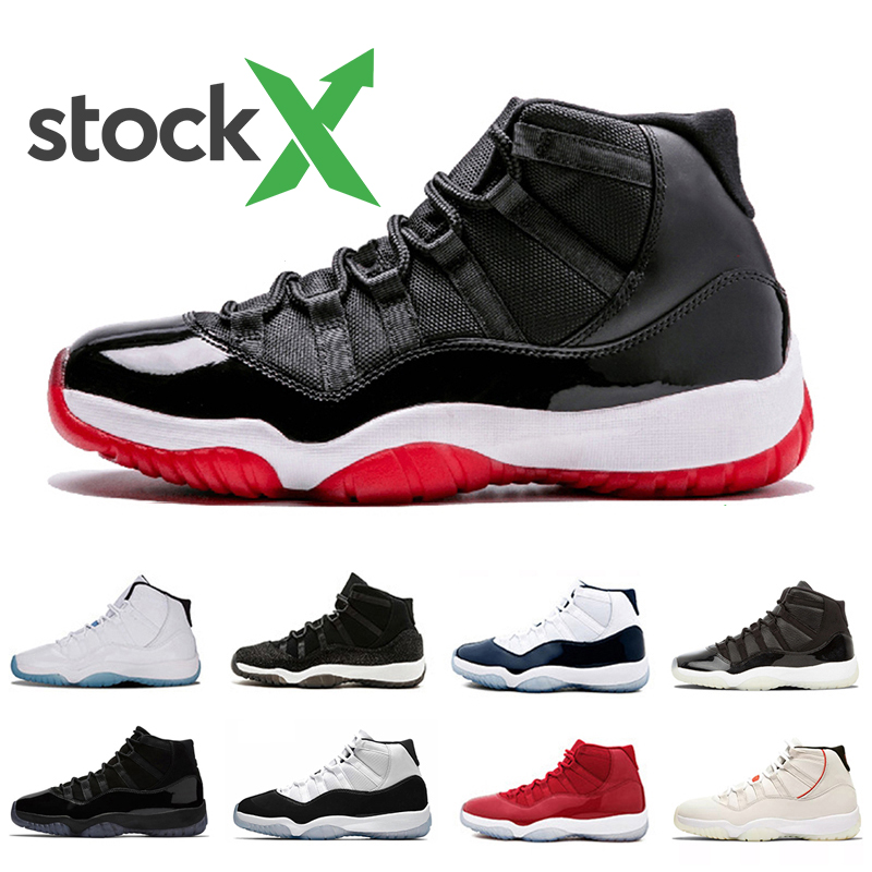 Stock X Bred 11 Mens Basketball shoes Bred 11s Black red 378037 061 Space Jam Cap and Gown Men Women Sports sneakers 5.5 13