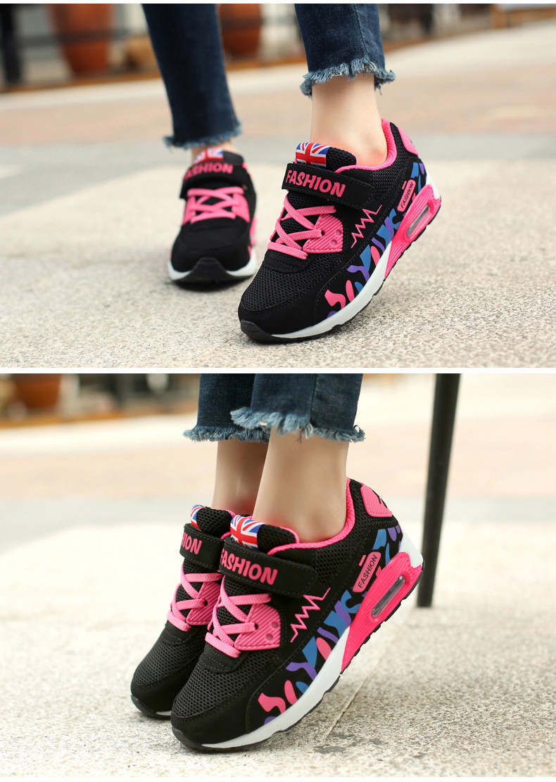 2019 Children Casual Shoes For Girls Running Comfortable Elastic Air Cushion Shoes Fashion Kids Sneakers Breathable Sport Shoes (10)