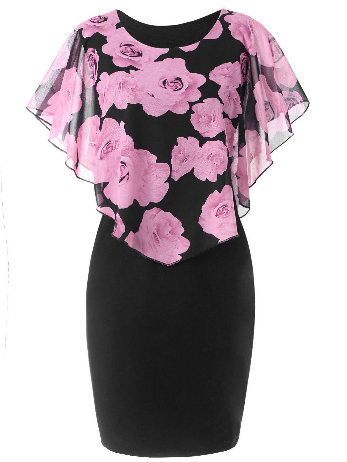 Wipalo Women Summer Dress Plus Size 5xl Rose Valentine Overlay Capelet Clothing Chiffon Elegant Midi Party Pencil Dress Vestidos SH190706