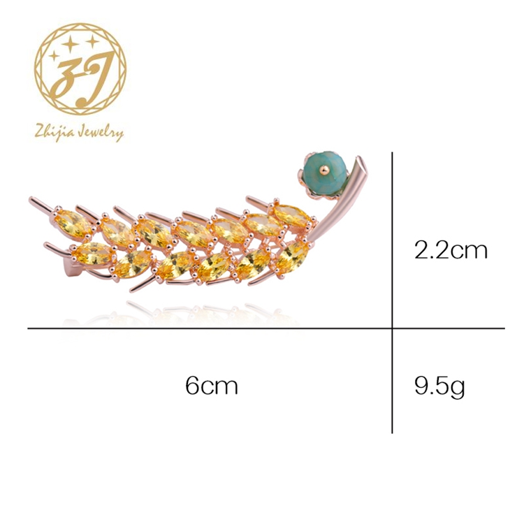 Zhijia Handmade Gold and Sliver Maple Leaf Vintage Zircon Brooches For Women High Quality Jewelry Fashion Women Accessories