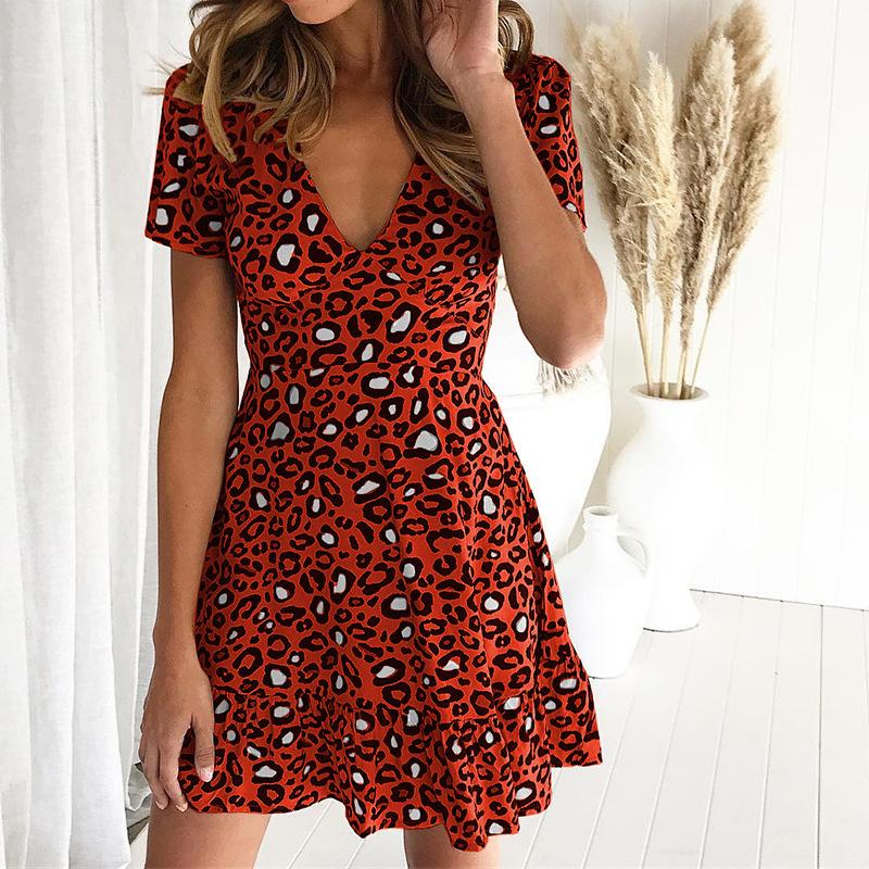 Forefair Print Leopard Dress sexy women short sleeve v neck Ruffle high waist Hem mini a line casual summer dress 2019 vestidos (20)