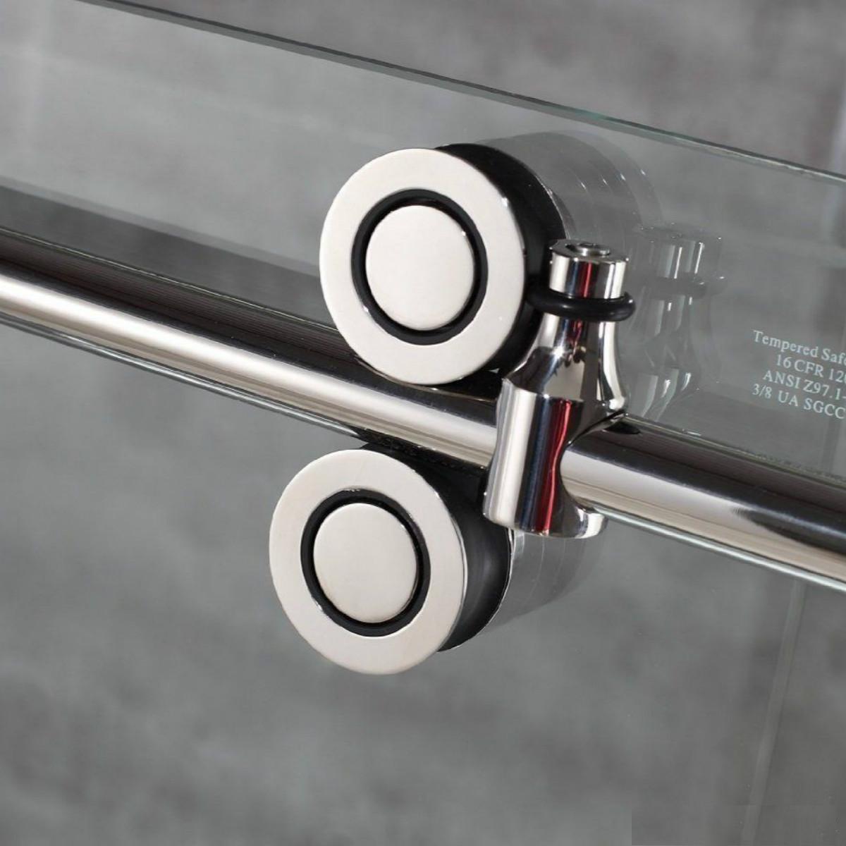 USA 6.6FT Sliding barn shower door twin roller frameless glass sliding track hardware set kit popular